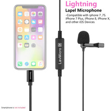 лучшая цена Saramonic Lavmicro Di Omnidirectional Microphone Lavalier Lapel clip on Mic with Lightning output for iphone 7 7S Plus 8 X  iPad