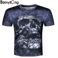 BIANYILONG America Fashion Hip Hop T shirt for men summer tops 3d t-shirt print skulls flowers tees shirts Plus Size M-5XL