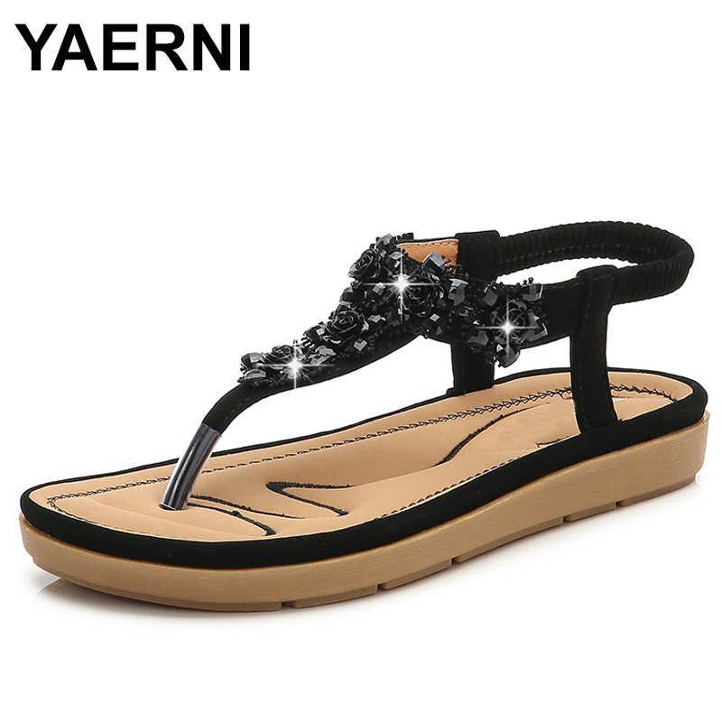 YAERNI Summer Casual Bohemia Sweet Flat women sandals flip flop bling rose flowers  rhinestone diamond brilliant 3be04e678dad