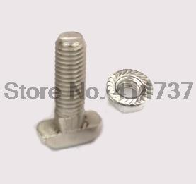 40sets 2020 Aluminium Profile T Bolt With Flange Nut Set,  M5x25 T Screw Bolt + M5 Flange nut, 3D Printer