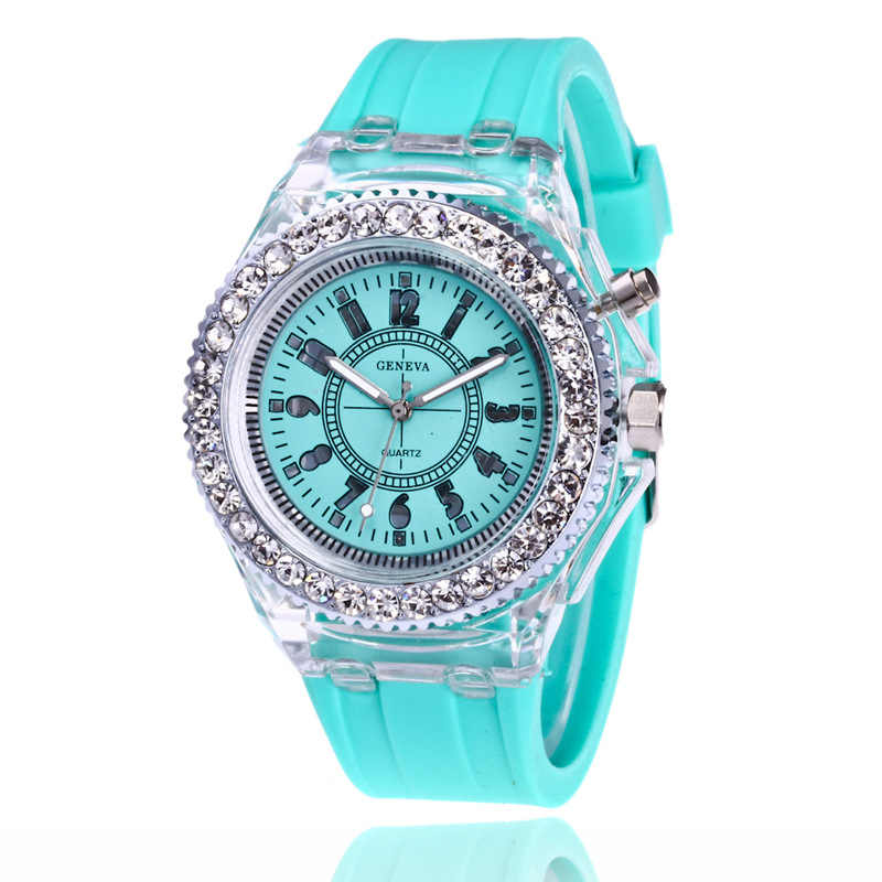 0b0bd1bddc2a2 ... Unisex mens women diamond crystal geneva 7 colors led light watch  silicone jelly candy fashion flash ...
