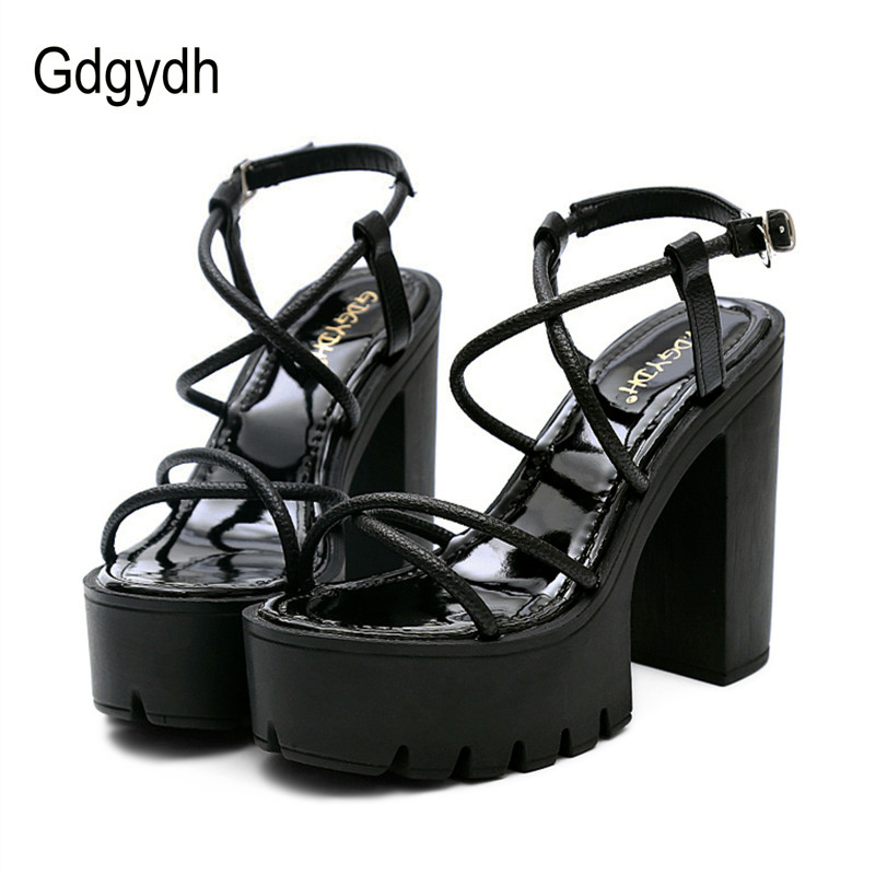Gdgydh Fashion Summer Women Shoes Heels 2018 New Arrivals Sexy Cut-outs Open Toe Thick Heel Black Rome Platform Sandals Woman 2016 new summer pep toe woman sandals platform thick heel summer women shoes hook
