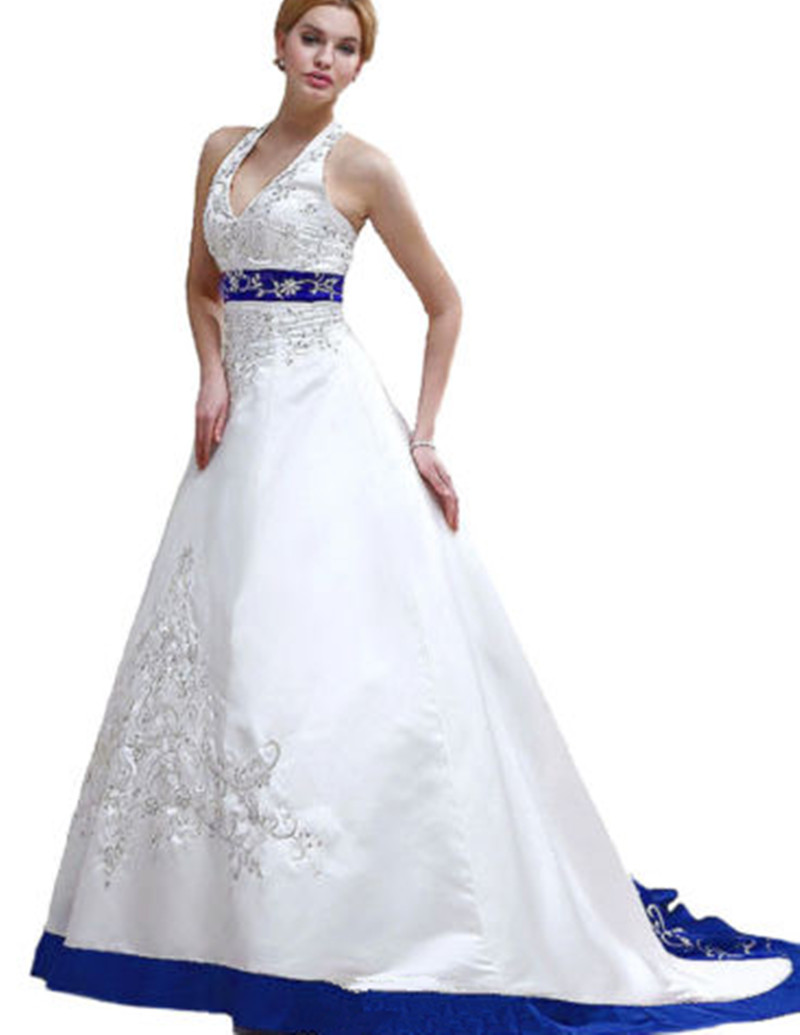 Popular white and blue wedding dress buy cheap white and for Navy blue and white wedding dress