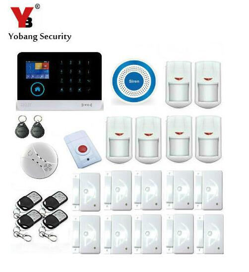 Yobang Security-Smart Wireless Shop Home Alarmsysteem WIFI/GSM//GPRS Burglar Security Alarm System+10pcs Door/Window Open Sensor safurance lcd wireless gsm home burglar alarm system motion door window sensor home security safety