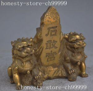 Crafts statue chinese folk fengshui brass Evil spirits foo dog lions Spirit stone lucky statue halloween