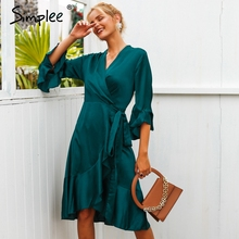Simplee Elegant women satin solid dress Ruffle flare sleeve sash wrap dress 2018 Autumn winter V neck sexy female dress vestidos