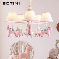 BOTIMI LED Children Chandelier LightingFor Bedroom Pink Chandeliers Cartoon Hanging Lights Kids Bedroom Fixture Lighting