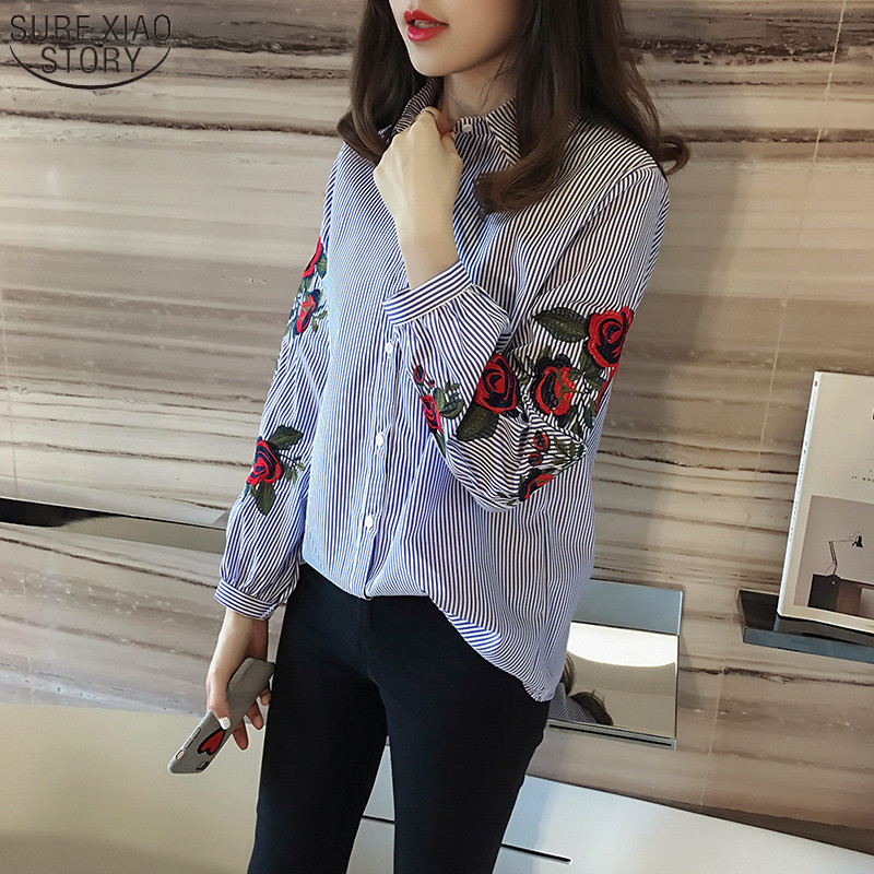 2019 New Spring Student Striped Shirt Korean Style Floral Embroidered Female Fashion Long Sleeve Blouse 923B 30
