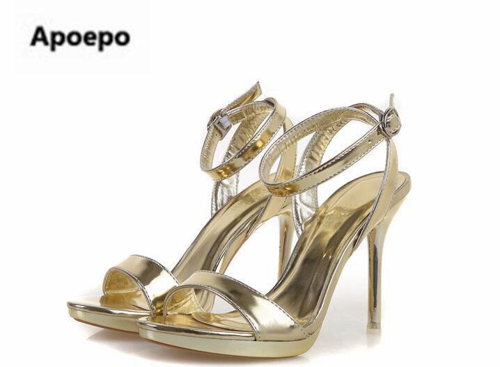 Date or argent miroir femmes sandales 7 cm/9 cm plate-forme talons chaussures femmes été cheville sangle sexy robe chaussures taille 41 - 4