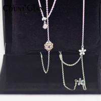 Authentic 925 Sterling Silver Poetic Blooms Necklace with Mixed Enamels & Clear Blush Pink Crystal Fits European Jewelry