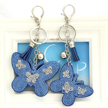 Crystal butterfly Pendant Animal keychain wholesale silver plated key chain  ring holder Women bag charm bag 442057b98