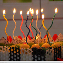8pcs1set Mix Color Long Curve Cake Candles Birthday Candle Wedding Party Decorations Kids