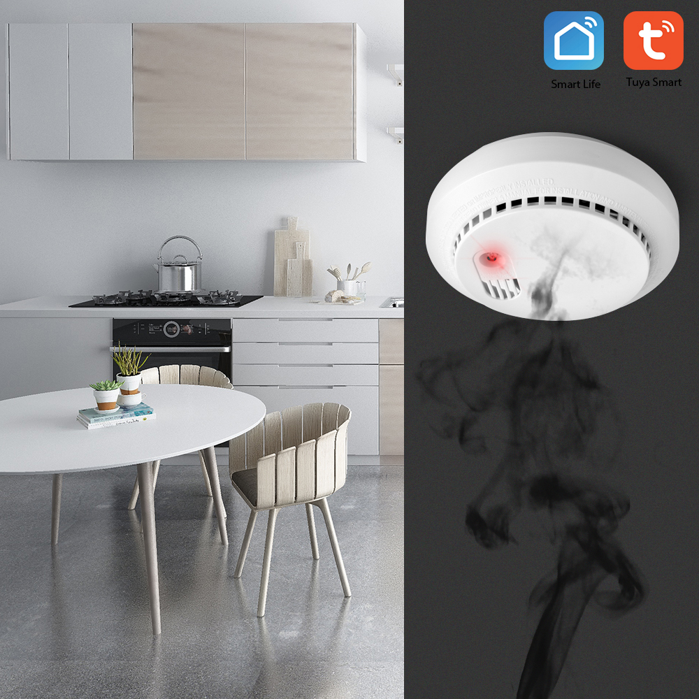 Wifi Carbon Monoxide Detector Wifi Smoke Detector Security Alarm System Support For Tuya Smart Home App