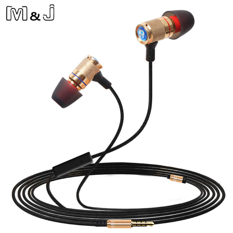 M & J profesjonalny Monitor DJ Studio bas stereo zatyczki do uszu słuchawki 3.5mm z MicMobile telefon słuchawki do iPhone'a Samsung