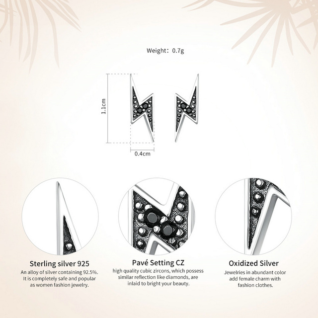 BAMOER 925 Sterling Silver Exquisite Lightning & Black CZ Stud Earrings  1