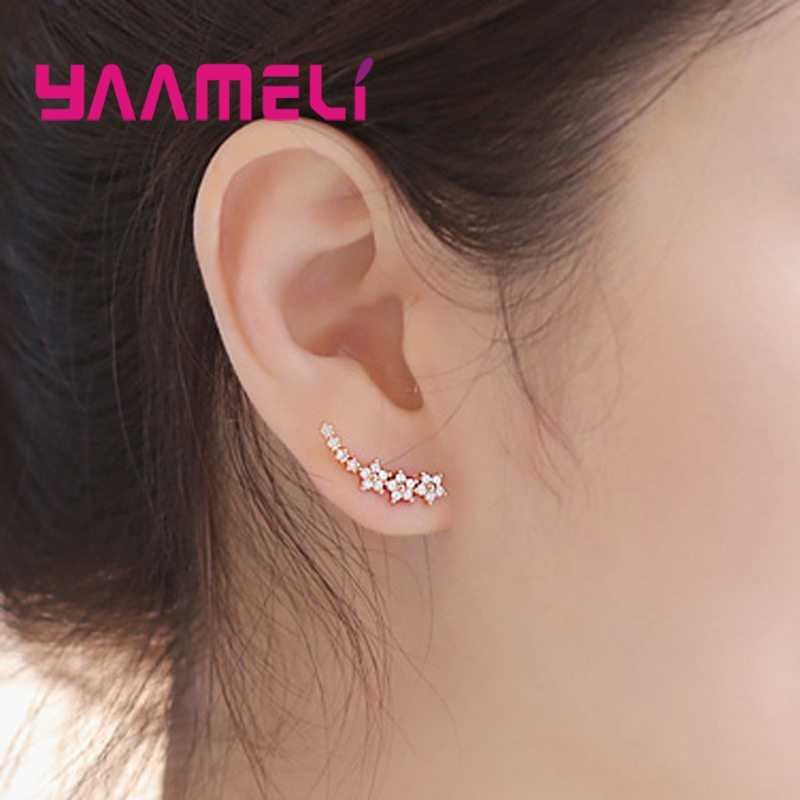 Ucha stadniny różnorodność trzy kolory elegancki styl Retro 925 Sterling Silver dojrzałe kobiety słodkie kwiaty kryształ stylizacji