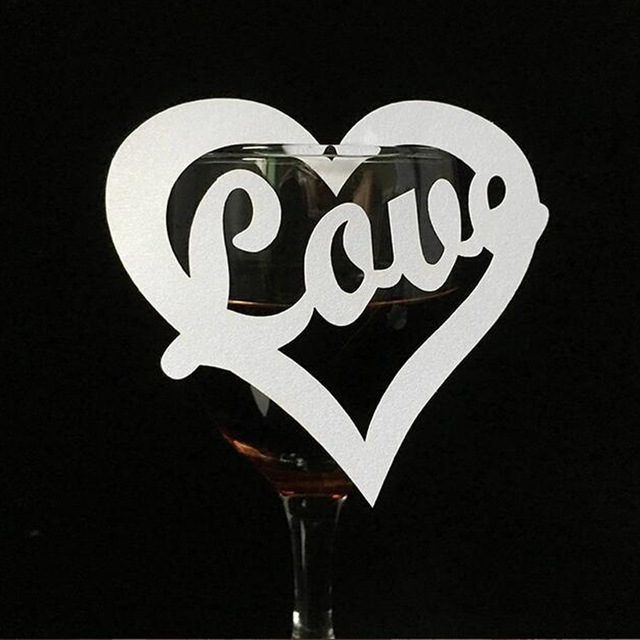ceaa78a02b3 50pcs Laser Cut Love Heart Wine Glass Card Table Name Place Escort Cup Card  Party Baby Shower Birthday Wedding Table Decoration