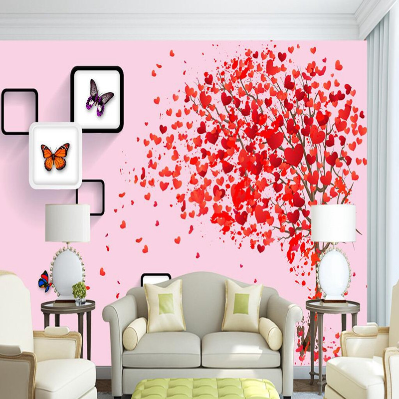 3D Stereoscopic Wallpaper Photo Wall Mural Romantic Love Tree Sofa TV Background Wallpaper for Children Warm 3D Wall Paper Mural 3d papel parede forests trees bridge reflection scenery 3d wall paper mural 3d photo wallpaper 3d wall mural for sofa background