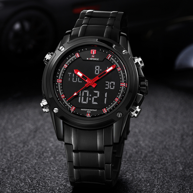 Luxury Brand Naviforce Men's Quartz Hour Analog LED Sports Watch