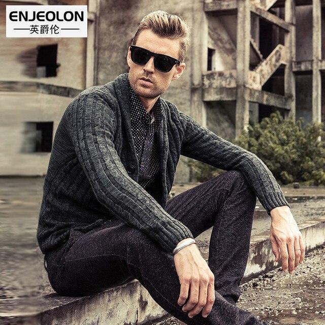 Primavera y otoño suéter hombres moda cuello chal algodón suéteres ...