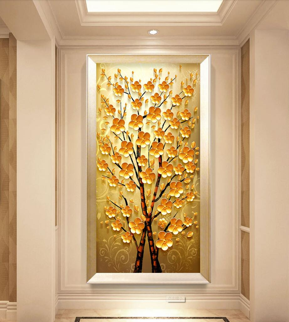 Custom 3d photo Wallpaper 3d Non-woven Vintage Hand-painted Mural Modern Abstract Money Tree Walkway Decor Entrance Wallpaper custom modern any size 3d photo non woven wallpaper wall murals 3d wallpaper hand painted rose tv sofa wallpaper home decor