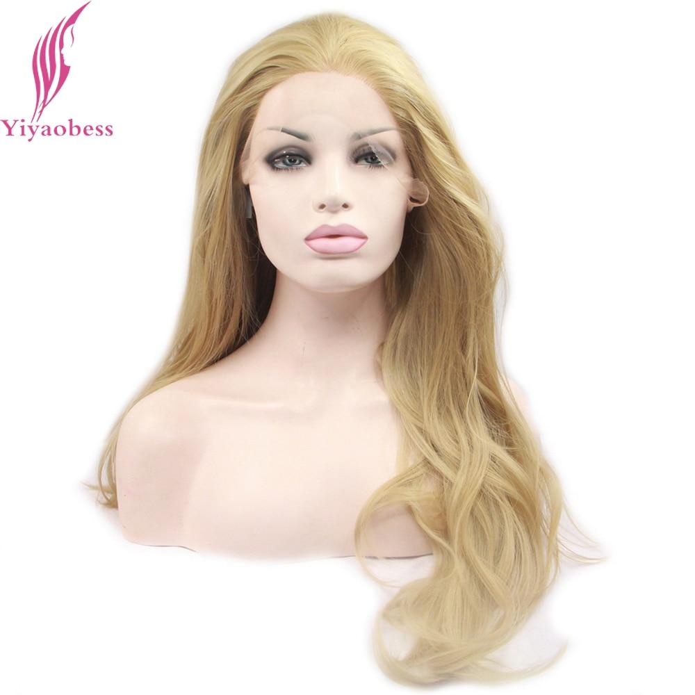 Yiyaobess Blonde Lace Front Wig Syntetiska Hår Styles Värmebeständiga Långa Wavy Parykar För Afroamerikanska Kvinnor