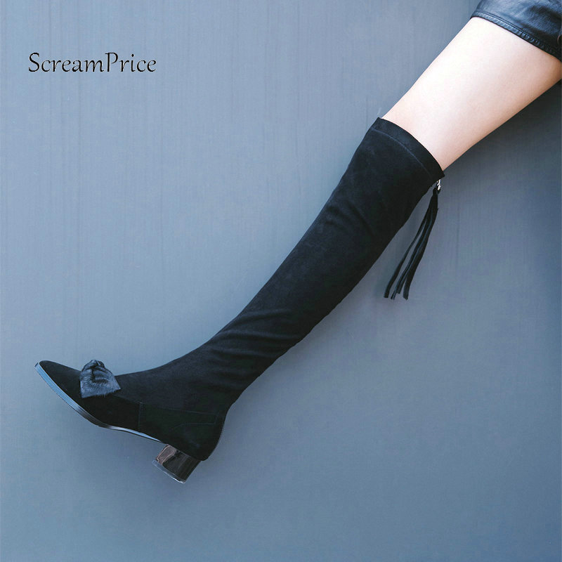 The New Suede Pointed Toe Bow Knot Woman Over The Knee Boots Low Square Heel Woman Stretch Boots Ladies Winter Thigh Boots Black цены онлайн