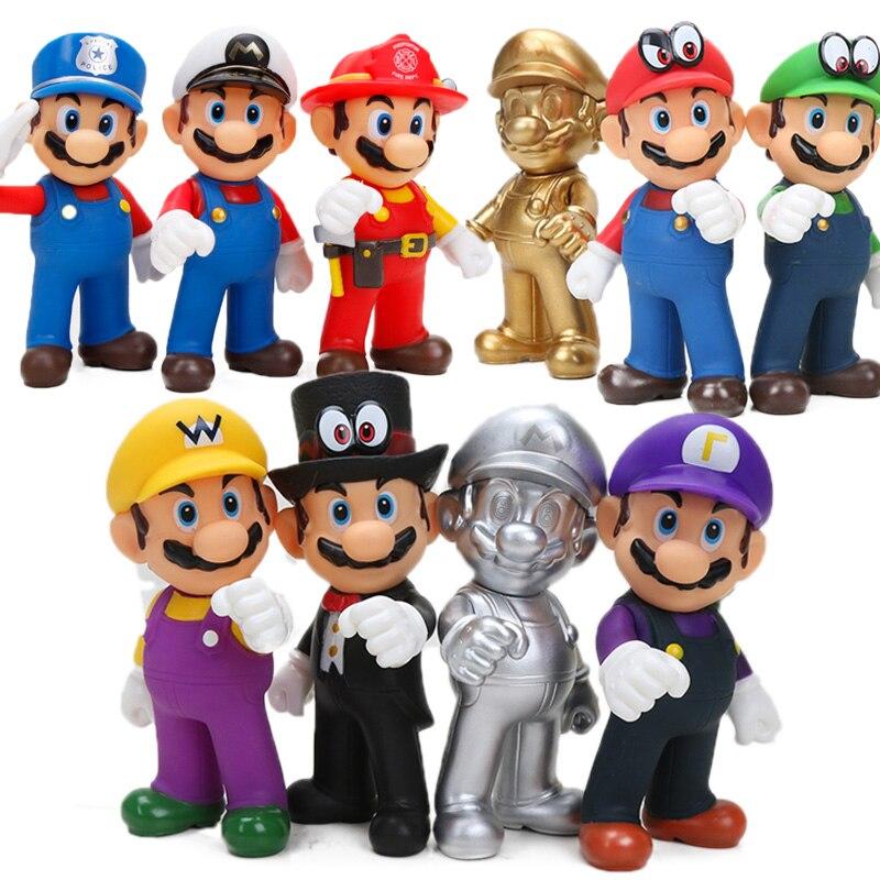 13cm Super Mario Figures Toys Super Mario Bros Bowser Luigi Koopa Yoshi Mario Maker Odyssey PVC Action Figure Model Dolls Toy schöne und das biest uhr
