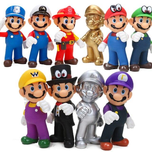 13 centímetros Super Mario Figuras Brinquedos Super Mario Bros Koopa Bowser Luigi Yoshi Mario Criador Odyssey PVC Modelo Figura de Ação bonecas de Brinquedo