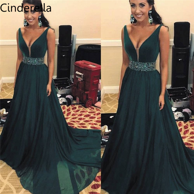 Cinderella Green V-Neck Sleevelss A-Line Side Slit Crystal Beaded Chiffon   Evening     Dresses   Chiffon Crystal Sash Party Prom Gowns