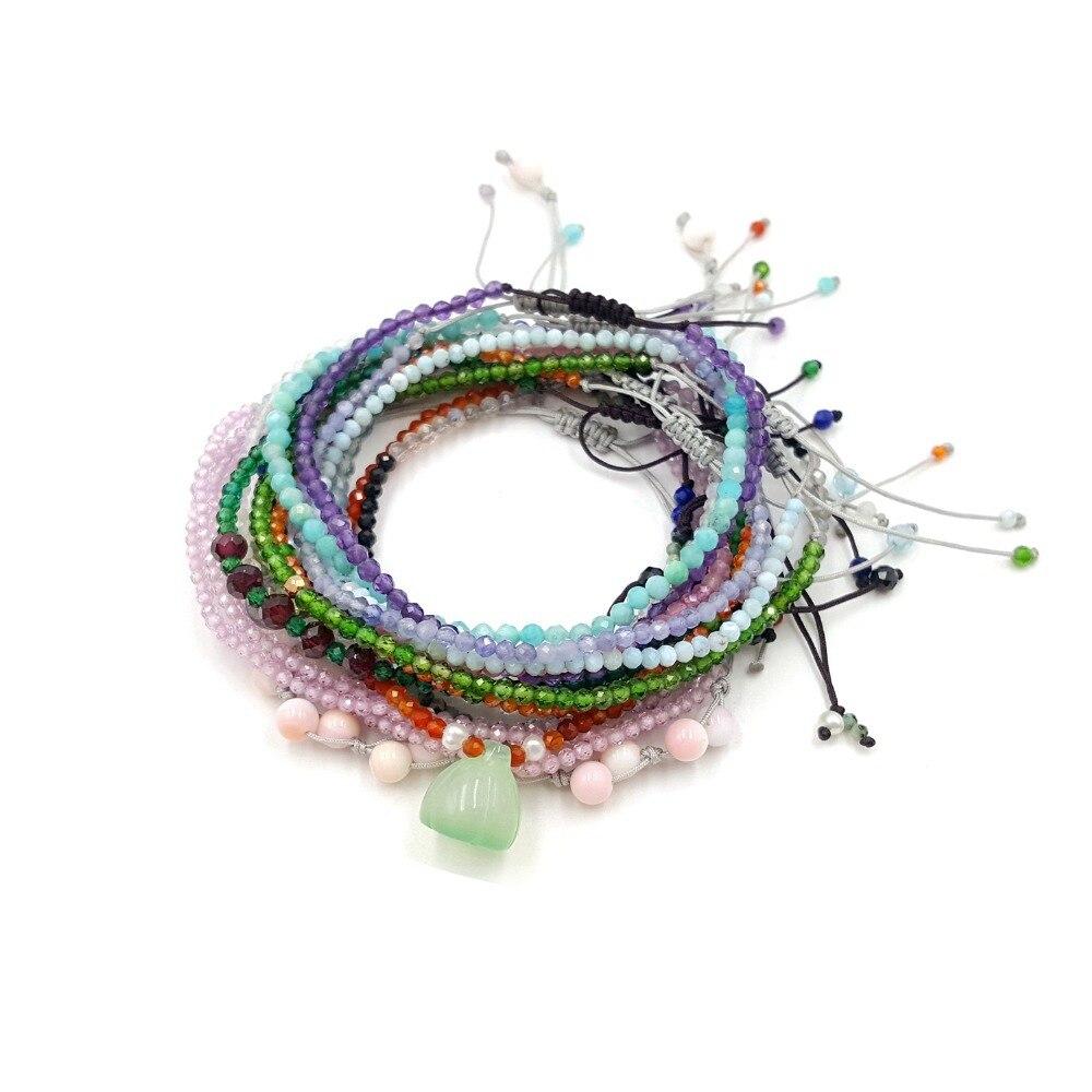 Bracelets amis réglables en pierres précieuses délicates Lii Ji un ensemble