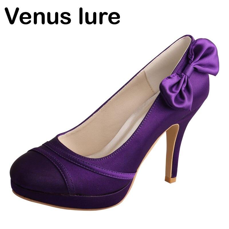 Venus lure Custom Handmade Womens Purple Footwear for Wedding Bows High Heel свадебное платье venus wedding dress 2015