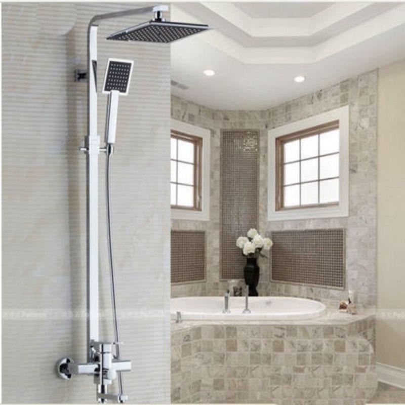 Wholesale And Retail Chrome Brass 8 Rain Shower Head Faucet Shower Column Tub Spout W/ Hand Shower Sprayer