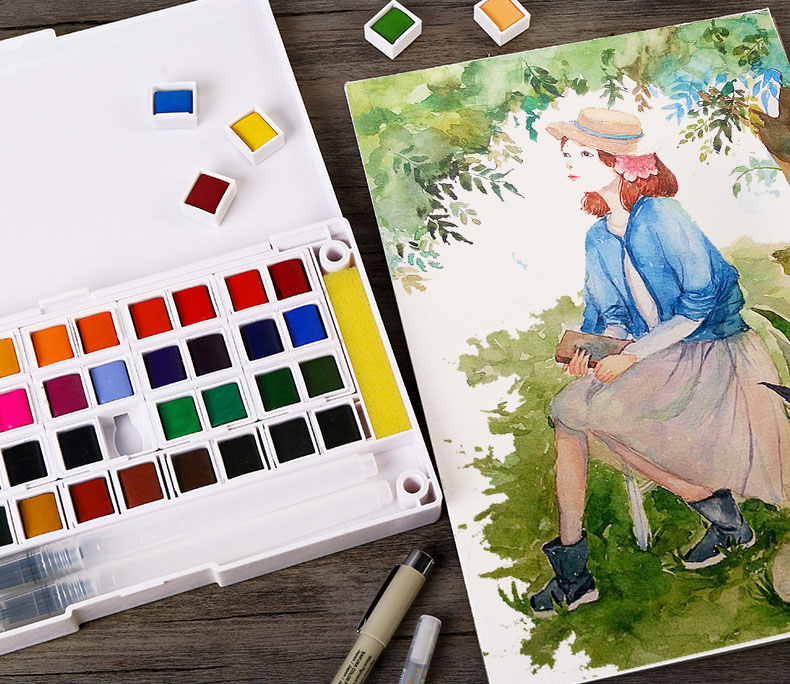Купить с кэшбэком superior 12/18/24/30/36/40 colors Solid Watercolor Paints Half Pans Pigment Set For Artist Drawing Art Supplies brush pen