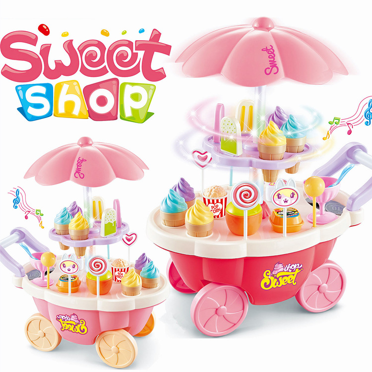 Baby Cartoon Pretend Play Sweet Shop Candy Cart Toys Set Ice Cream Role Play Creative Kids Cosplay Simulation Kitchen Toys Set ice cream cart toy