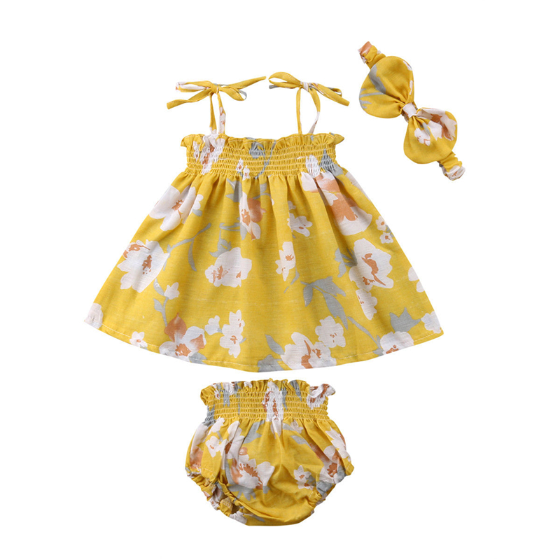 Floral Baby Girl Clothes Newborn Top Princess Dress+Shorts+Headband 3pcs Children Clothing Summer Holiday Kids Toddler Costume