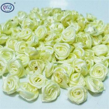 HL 100 piezas luz amarilla cinta Rosa Flores boda decoración DIY manualidades accesorios costura apliques 15MM A664