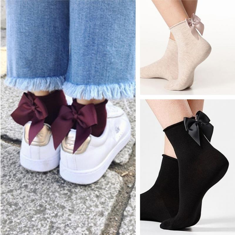 New Arrival Spring Autumn Summer Women Fashion Cotton Socks With Big Bow Solid Casual Female Short Socks Cute Bowknot Female