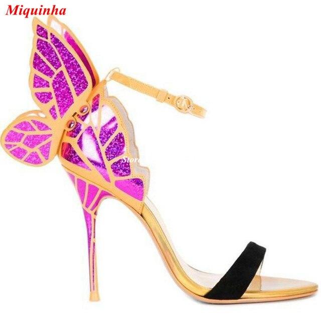 Butterfly Wing Ankle Wrap Sandals Women Stiletto Heels
