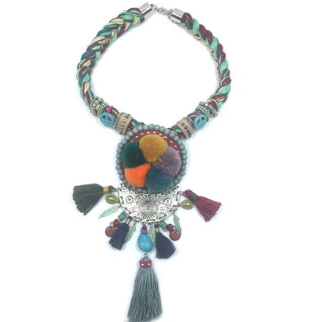2017 new boho jewelry handmade braid tassel pendants necklace dream 2017 new boho jewelry handmade braid tassel pendants necklace dream catcher pompom ball pendants choker necklace audiocablefo