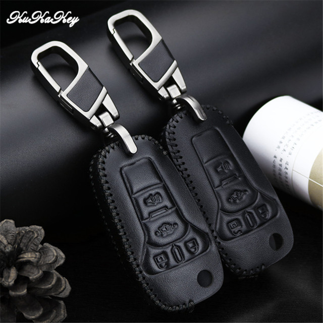 Leather Key Fob Cover Case Shell Holder For Ford Ka 2017 Focus Fiesta Fusion F150 F 150 Mustang Explorer Flip 4 Ons Keychain