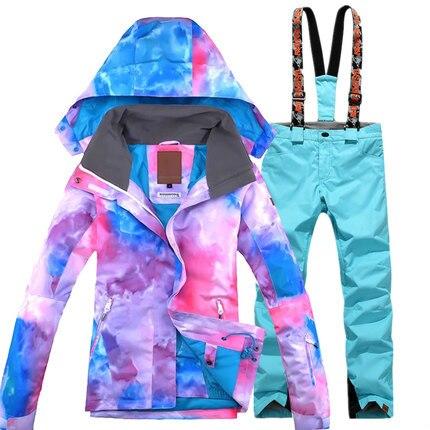 GSOU SNOW 2017 nouveau costume de Ski pour femme hiver épaississement chaud imperméable coupe-vent vêtements respirants résistant au Ski manteau pantalon de Ski