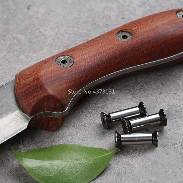 2 piezas M4 cuchillos tornillo remache para herramientas de bricolaje material cuchillo placa de fijación, estilo Procesamiento de muebles de tornillo