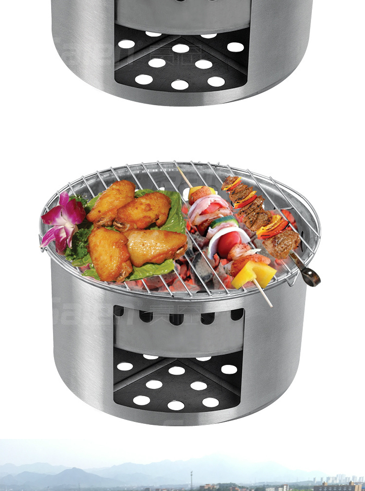 Fold-able Solid Fuel Outdoor Stove Barbecue Oven For Camping Barbecue Hiking