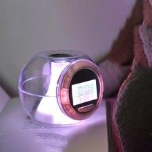 Réveil LED pour enfants, horloge de bureau, 7 couleurs changeantes, Cube numérique Transparent, veilleuse