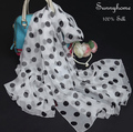 Echarpes Femininas 2016 Bandanas Headwear 100% Real Silk Black Polka Dot Scarves and Stoles White Pasmina Bufandas Mujer Scarf