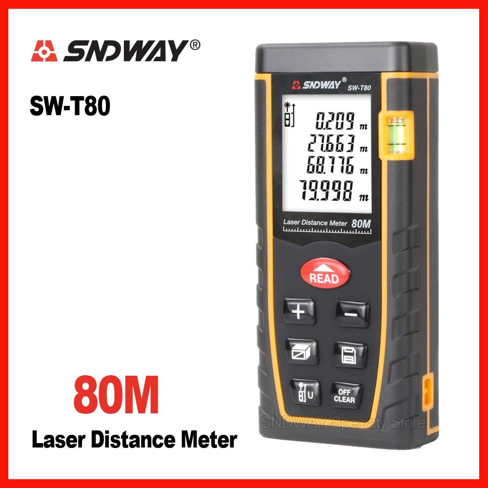 Original Sndway T80 80m digital laser range finder distance tape measure roulette meter trena rangefinder tester ruler tool