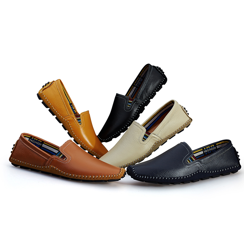 Genuine Leather Men Casual Shoes Luxury Brand Mens Loafers Moccasins Breath