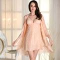 Женский сексуальный пижамы ночной рубашке летом два платья с кружевной бюстгальтер тонкий