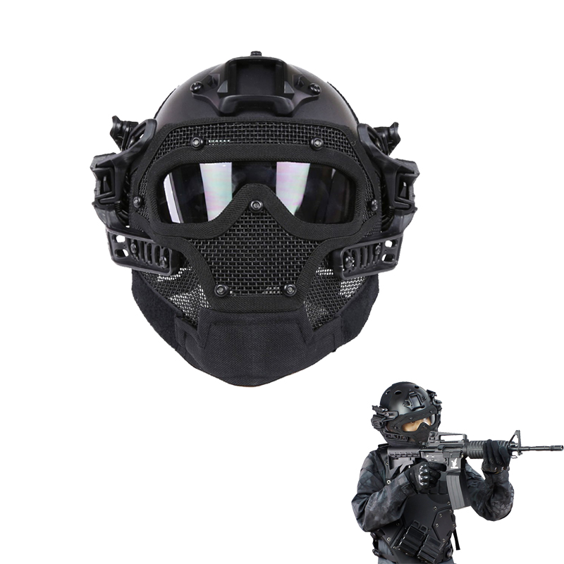 Tactical Fast Helmet Combined with Full Mask and Goggles for Airsoft Paintball CS Game kryptek green pj type fast molle tactical helmet combined with full mask and goggles for airsoft paintball cs hunting